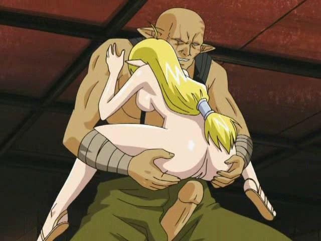 Passionate hentai honey getting pink cooshie penetrated by a giant dong