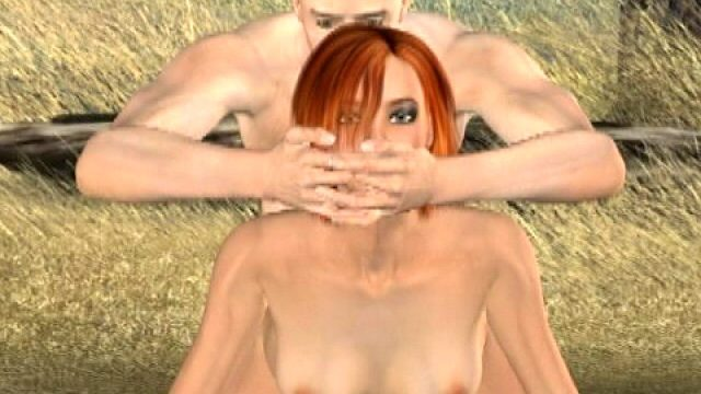 Sinfully redhead 3D girlfriend Tammy gets fucked doggy style outside