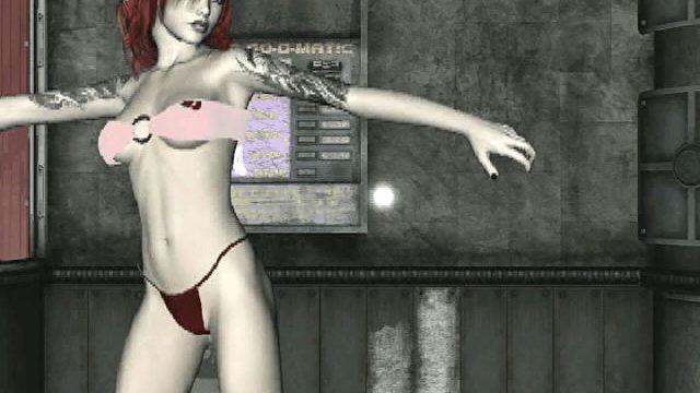 Tattooed redhead 3D girlfriend in bikini Amanda dancing for you